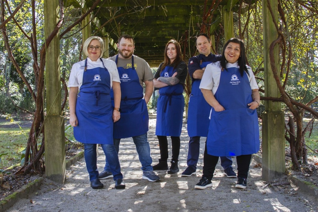2019 Chef Ambassadors.  (l-r)  Jessica Shillato of The Spotted Salamander in Columbia, SC; Brandon Carter of FARM in Bluffton, SC; Kelly Vogelheim of Town Hall Restaurant and Bar in Florence, SC; Marc Collins of Circa 1886 in Charleston, SC; Tania Harris of The Lazy Goat in Greenville, SC.  Credit: SCPRT (Photo by Perry Baker)