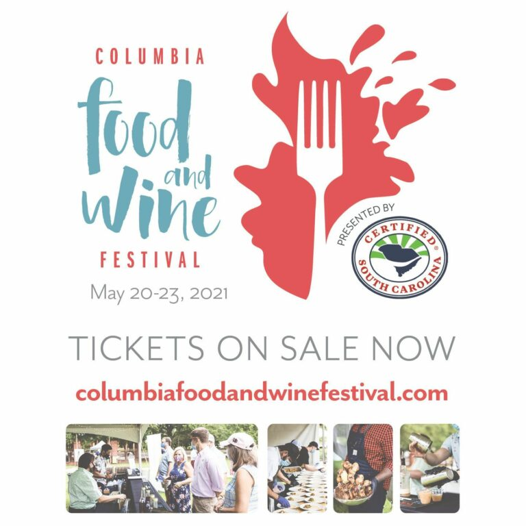 Certified SC Instagram image: We're looking forward to seeing you at the @columbiafoodandwine Thurs., May 20 – Sun., May 23 in #ColumbiaSC! General Admission tickets are still available for Sunday's event where you'll get to enjoy local food and drinks from more than 40 of your favorite chefs and breweries.🎟  ColumbiaFoodandWineFestival.com
